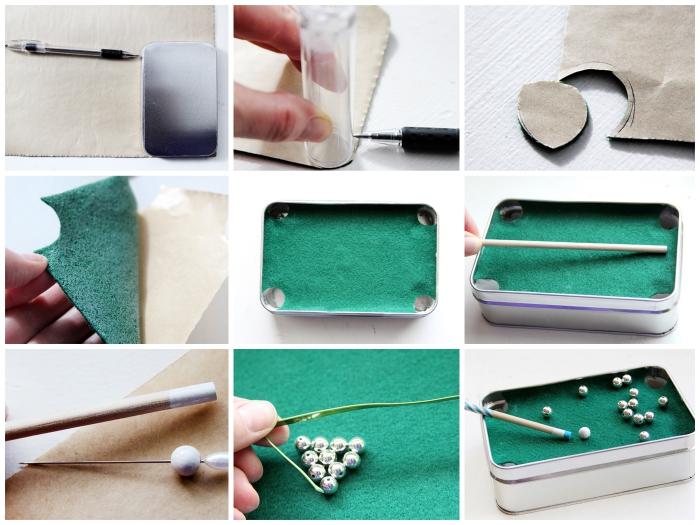 un jeu de billard portable fait-maison à partir d une boîte de rangement pour cartes, idée de cadeau insolite homme à fabriquer soi-même
