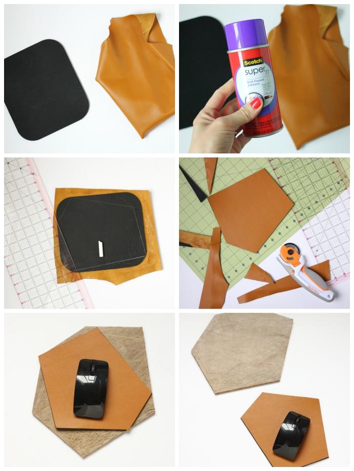 tuto pour réaliser un tapis de souris en cuir couleur camel à partir d'une an, ideee cadeau a faire soi meme