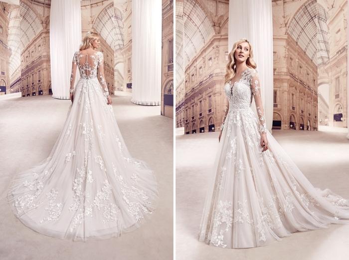 robe mariée dentelle avec bustier coeur et manches illusion transparentes à effet tatouage, robe de mariée avec jupe de bal à broderie florale