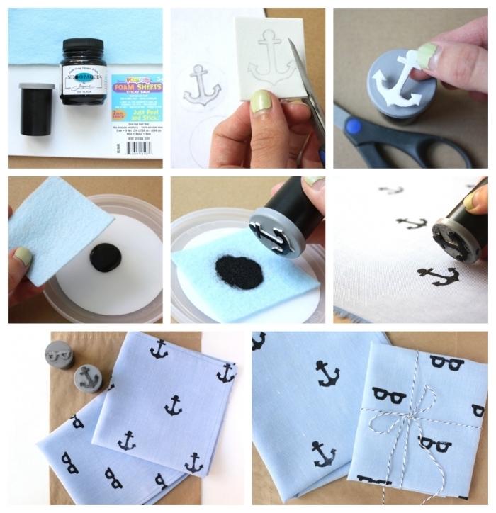 idée de cadeau fete des peres personnalisé, mouchoir de poche en tissu personnalisé à l'aide d'un tampon-encreur fait-main à partir d'un bouchon en plastique