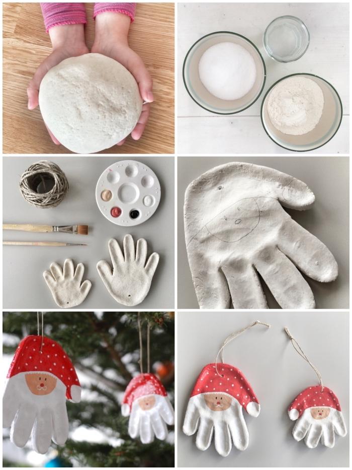 des ornements de noël personnalisées avec des empreintes de main peintes façon père noël, idée cadeau grand père à faire soi-même