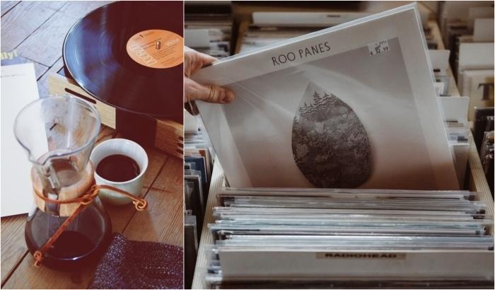 idée de cadeau grand pere, tourne-disque vinyle au look vintage pour qu'il écoute ses disques vinyles favoris