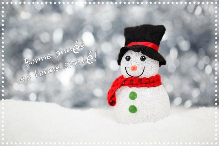 bonne année 2019 image, photo figurine bonhomme de neige avec mots bonne année, idée carte voeux 2019