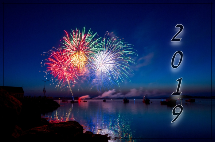 bonne année 2019, fond d'écran festif pour célébrer le premier janvier, photographie feux d'artifice 2019 dans la nature