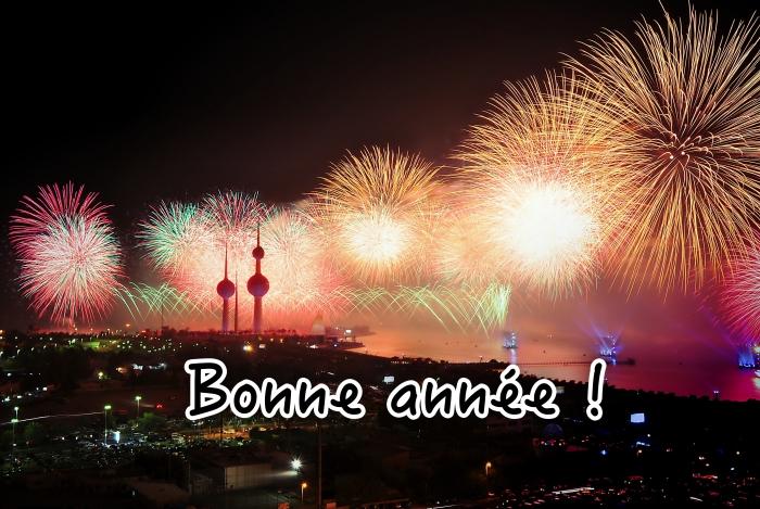 photographie feux d'artifice, idée photo spectacle de lumières nouvel an, carte de voeux nouvelle année 2019