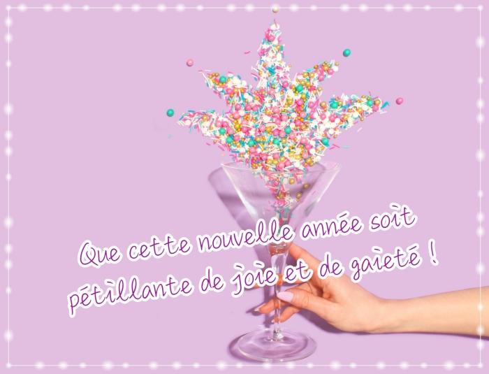 belles images bonne année 2019, idée carte de voeux nouvel an pour fille, photo girly en rose pastel avec confettis