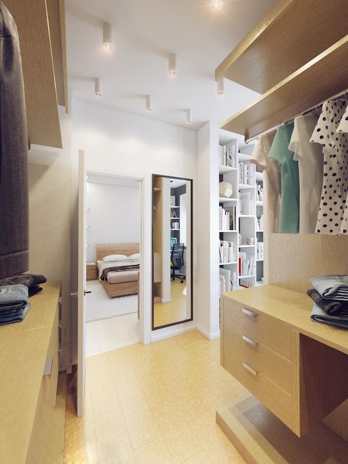 Petit dressing caisson, chambre à coucher et dressing rangement pour vêtement, chambre blanche décoré en beige