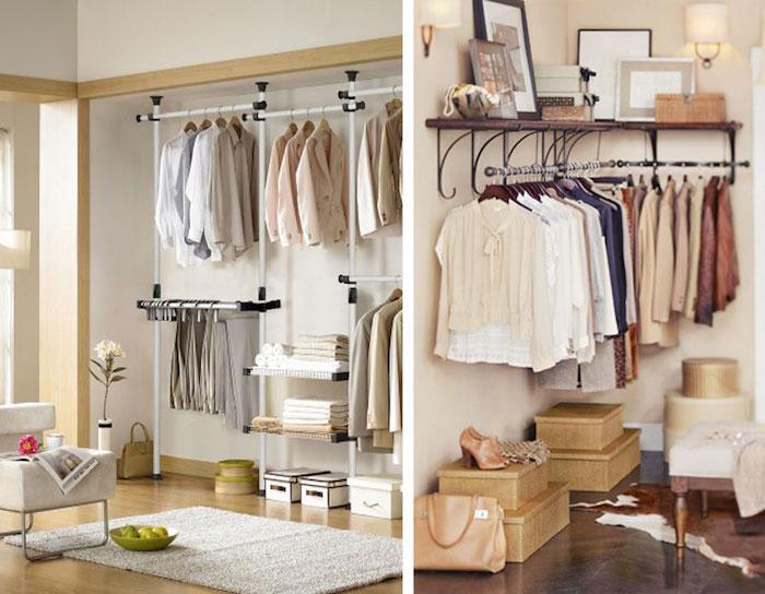 Caisson dressing meuble beige, rangement chambre classe, faire place pour ses vêtements, comment décorer sa chambre a coucher