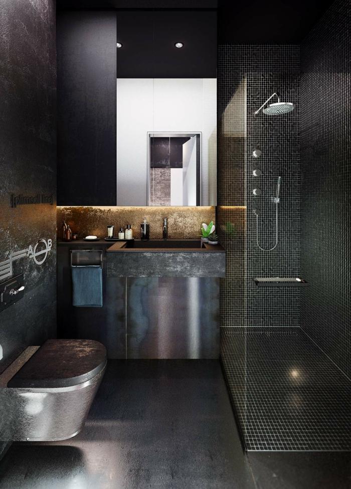 Salle de bain industrielle, conseils pour réussir la décoration de sa salle de bain cool idée style d'intérieur industriel métaux meubles