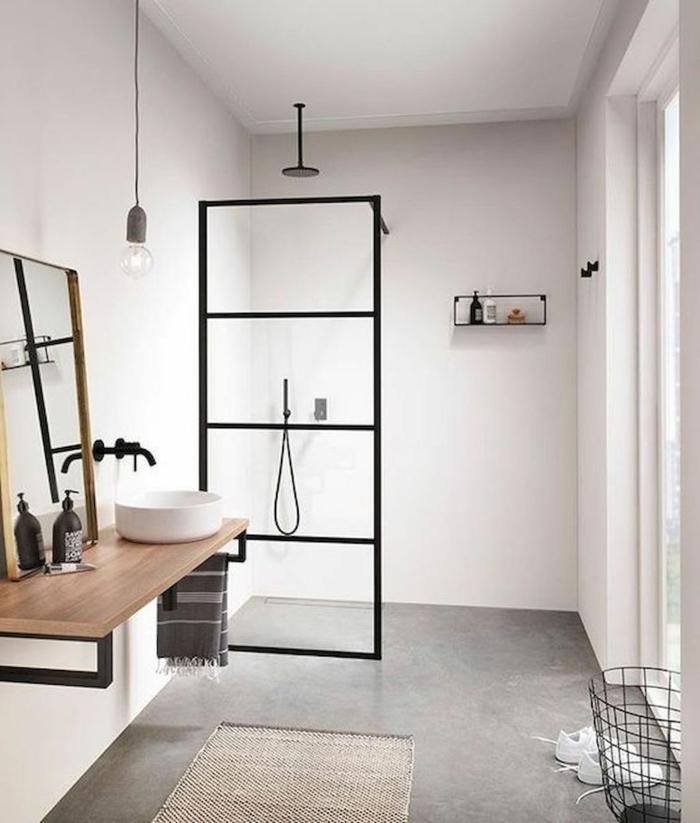 Style industriel simplicité, formes simples meuble salle de bain vintage, interieur amenagement verrine douche industriel