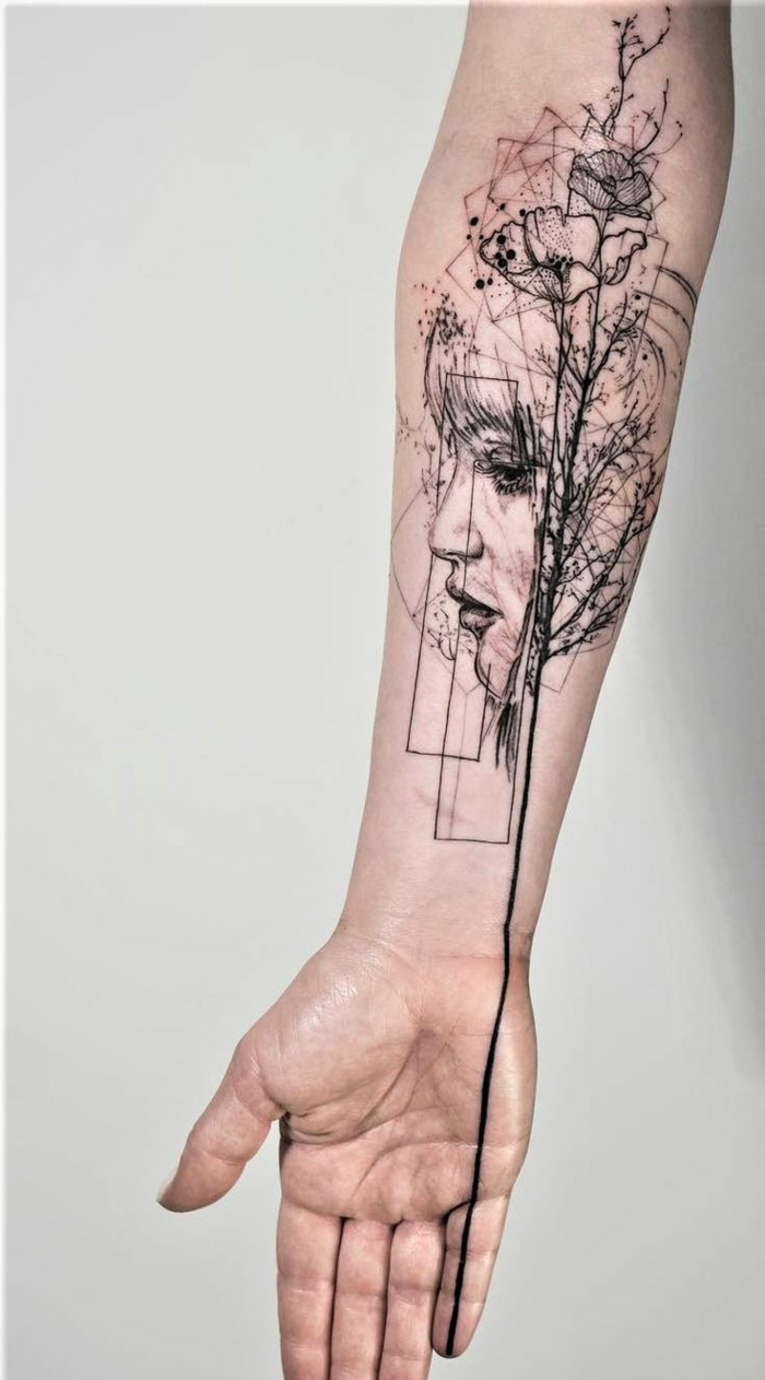Moderne tatouage tete de fille avec ligne qui finisse en fleur, ligne des le doigt tatouage, dessin stylisé et abstrait, idée quel tatouage est le meilleur pour moi
