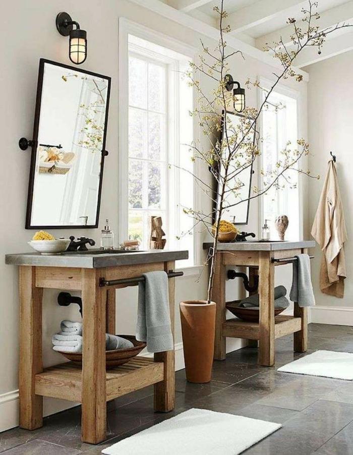 Pinterest salle de bain, décoration salle de bain industrielle, relooker simple idee creer de l'ambiance table bois