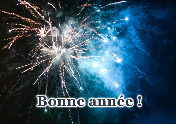 carte de bonne année 2019, photo feux d'artifice, image célébration 1er janvier, voeux bonne année avec photo
