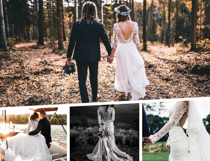 robe de mariée hiver, mode femme mariage, robe de mariée princesse à jupe en tulle, quelle robe de mariée pour mariage bohème
