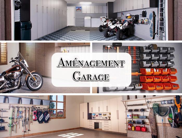 astuce rangement garage, modèle de meuble armoires hautes avec étagères, peinture murale couleur neutre pour garage