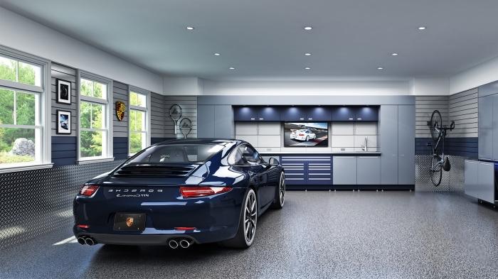 exemple rénovation de garage moderne, design intérieur garage aux murs en panneau gris et plafond blanc avec porte-vélo