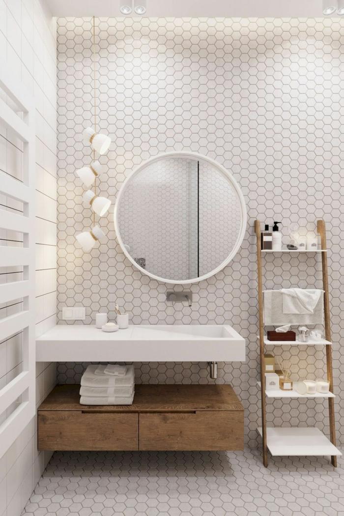 Aménagement salle de bain retro la salle de bains belle decoration industriel style piece importante ronde miroir echelle de rangement