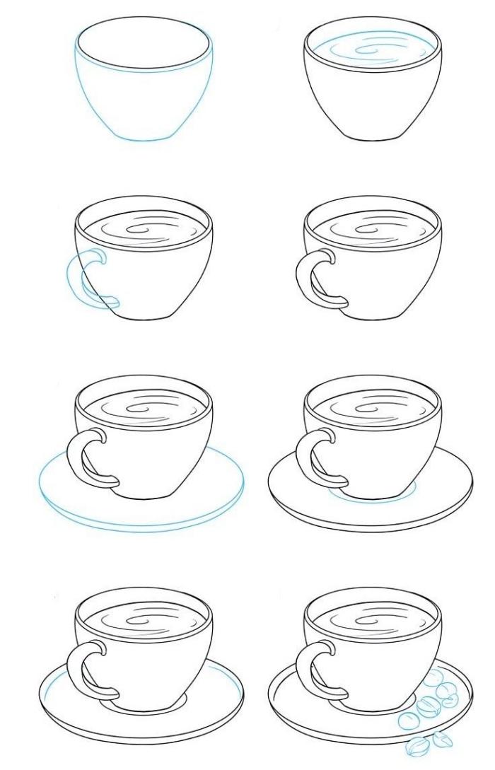 exemple de dessin facile à reproduire, pas à pas dessin tasse de café avec assiette