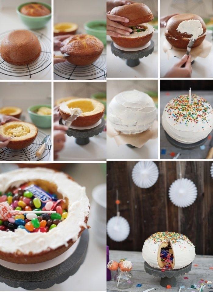 idée de gâteau d'anniversaire fait-maison, pinata cake sphérique nappé de crème pâtissière nature fourré de surprises gourmandes