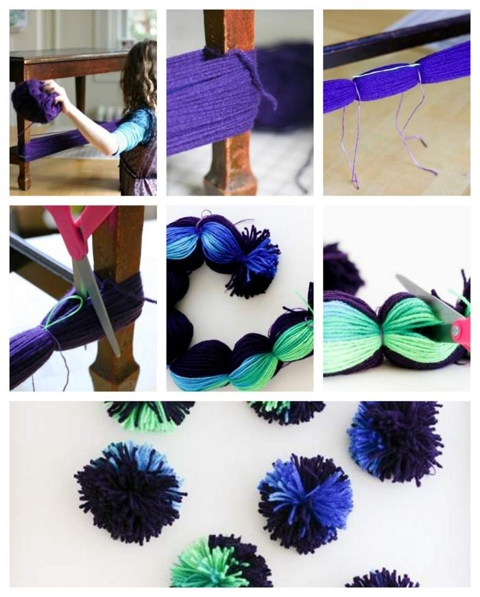 diy pompon, technique facile pour faire des pompons, pompons bicolores à l'aide des pieds d'une table en bois