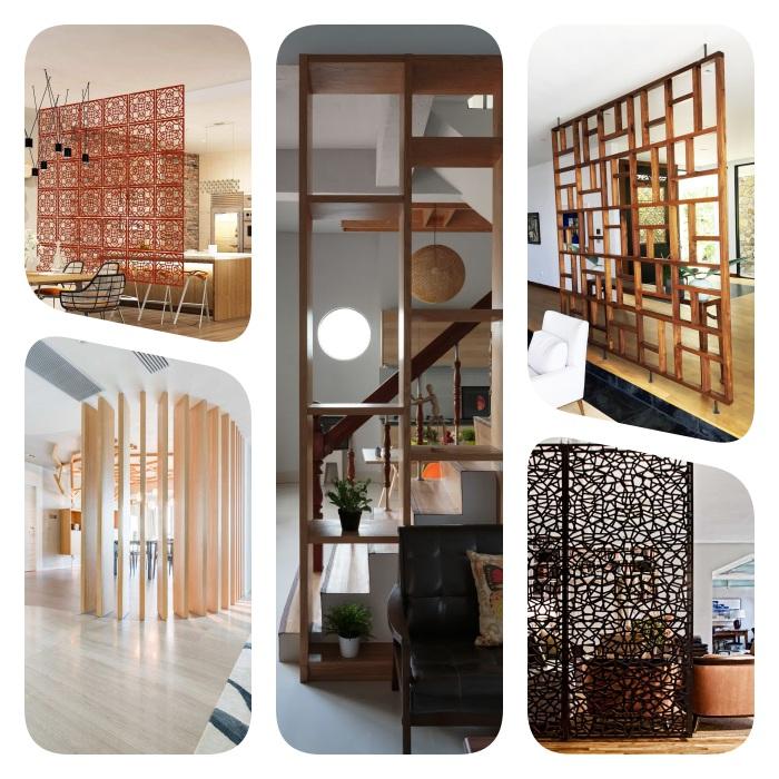 claustra interieur en bois ou metal pour créer une separation, chambre, salle à manger, escalier ou salon