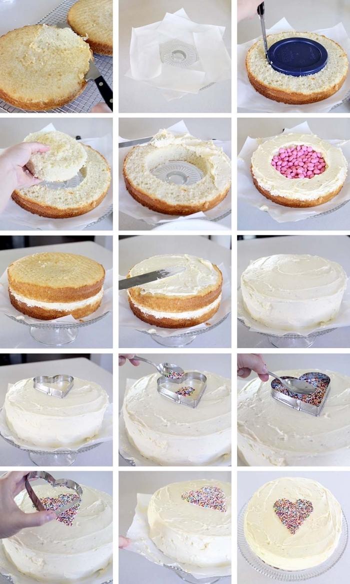 les étapes pour assembler un gateau a la vanille étagé qui cache des bonbons en son centre, idée de gâteau de baby shower fait-maison