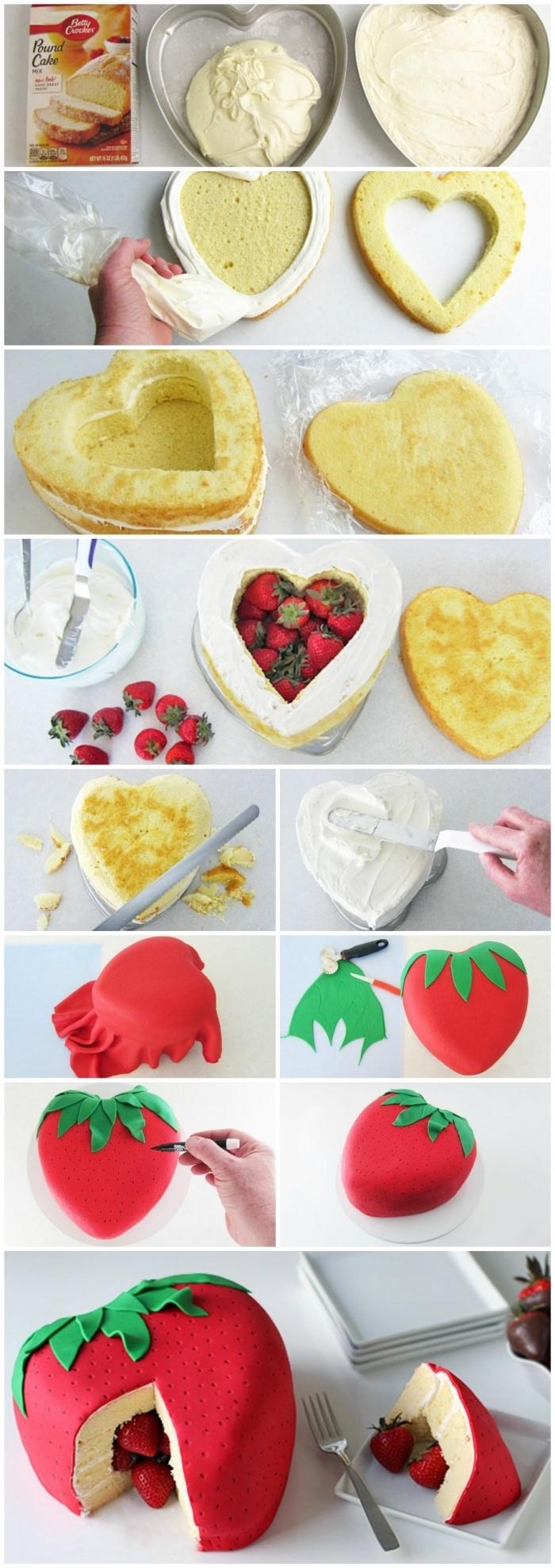 tutoriel pour faire un gateau pinata aux fraises en forme de coeur, recouvert de pâte à sucre