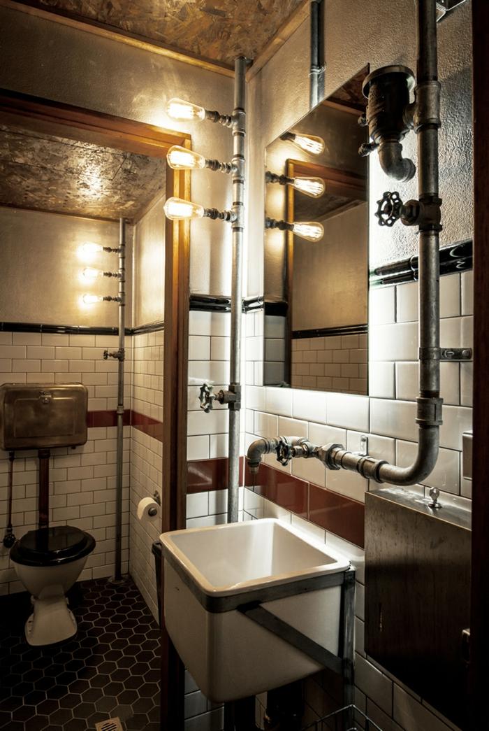 Cool idée pour la salle de bain vintage photo salle de bain industriel comment organiser son projet industriel lustre et tubes qui se voient