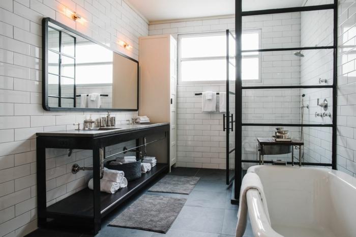 Verriere salle de bain realisation de decoration originale pour salle de bain photo inspiration verrine noir salle noir et blanche