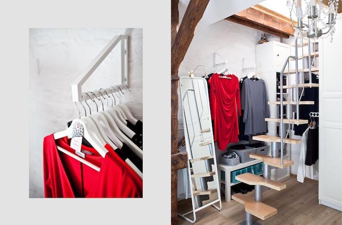 Dressing modulable meuble rangement chambre adulte décoration simple, robe rouge a manche longue et rive gris manche