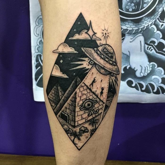 Modele de tatouage dessin stylisé, le cosmos technique dessin sur la peau permanente, soucoupe volante tatouage