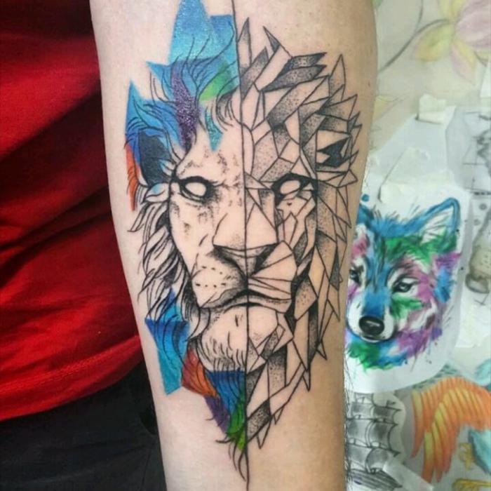 Tatouage abstrait, modele de tatouage ephemere, magnifique animal graphique, se tatouer un lion géométrique tatouage, faire le meilleur choix pour soi
