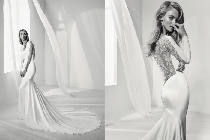 modèle de robe de mariée blanche avec longue traîne et dos illusion à motifs fleurs effet tatouage en dentelle, robe de mariée sirène