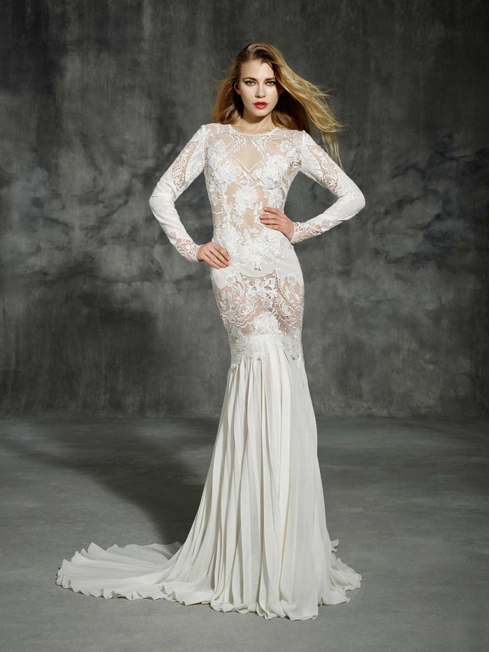 modèle de robe sirene mariage spectaculaire, idée robe de mariée à effet illusion transparent avec motifs dentelle