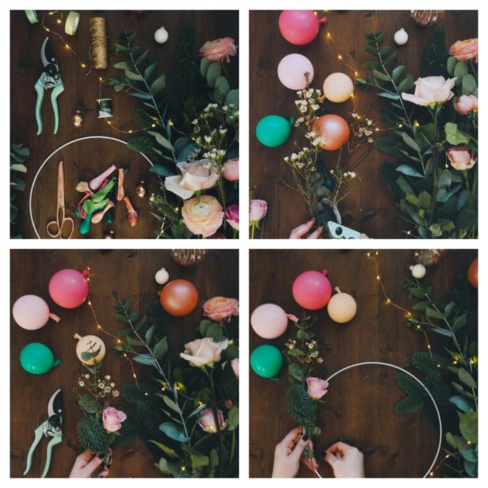 couronne de noel en mini ballons, cerceau et bouquet de roses et feuilles vertes, guirlande d'ampoules électriques