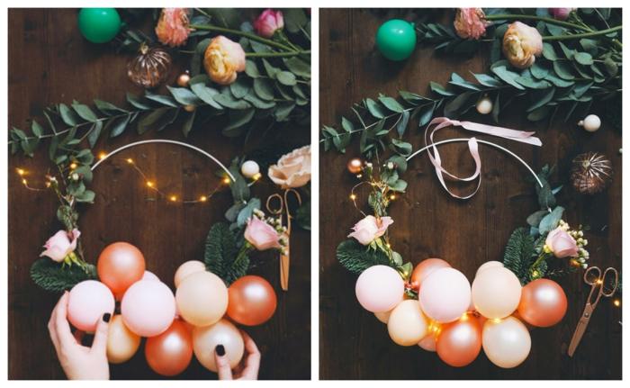 couronne de noel pour la porte avec mini ballons décoratifs, boules de noel, lampes électriques, bois foncé
