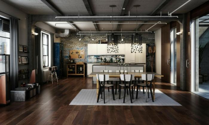 cuisine style industriel, parquet pour cuisine bois foncé, tapis blanc, plafond industriel, cuisine et salle à manger, mur en briques