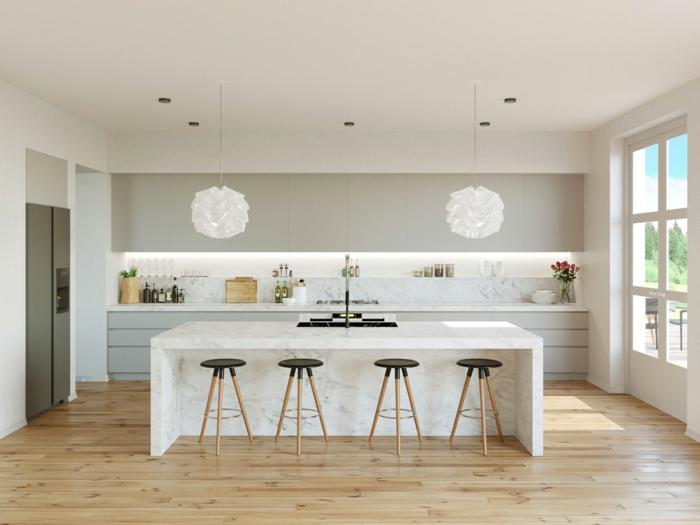 cuisine style scandinave, îlot blanc avec évier noir, suspensions blanches, crédence de cuisine blanche