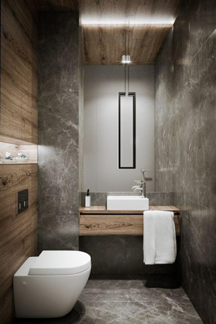 Moderne style industriel, salle de bain industrielle, belle decoration, baignoire vintage style original granith et bois