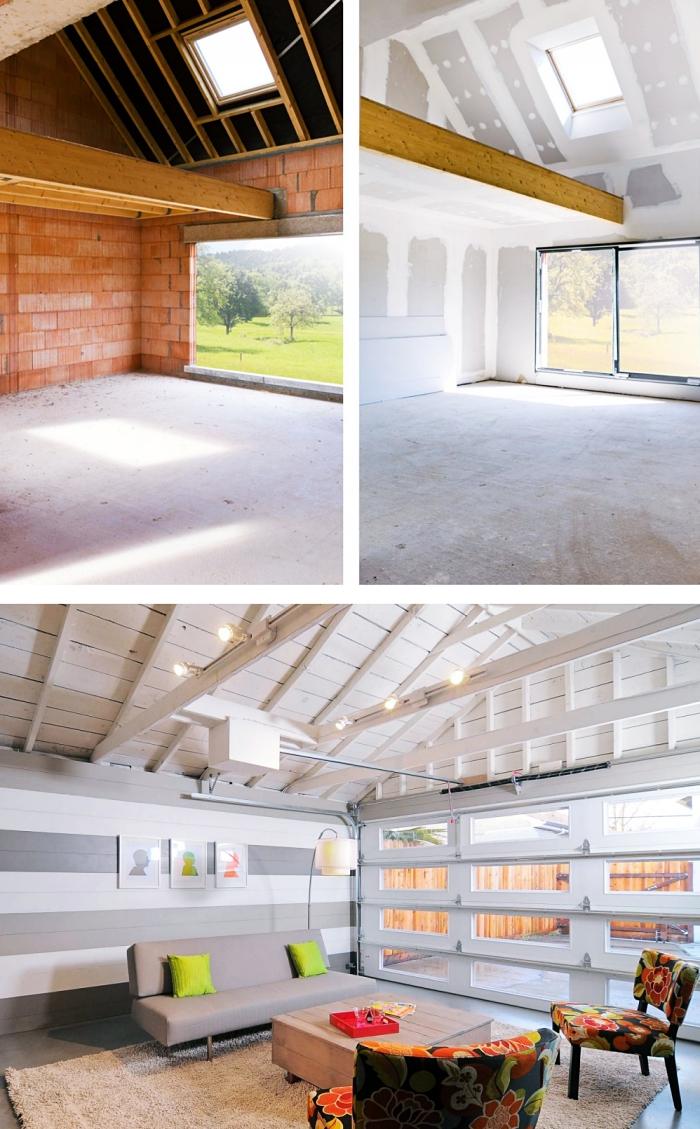 exemple comment rénover facilement un garage, transformation de garage en salon, projet rénovation garage