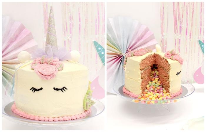 un gateau surprise licorne nappé de crème au beurre qui cache des bonbons, gâteau licorne à décor en pâte à sucre, rempli de riz soufflé enrobé de sucre aux couleurs de l'arc-en-ciel
