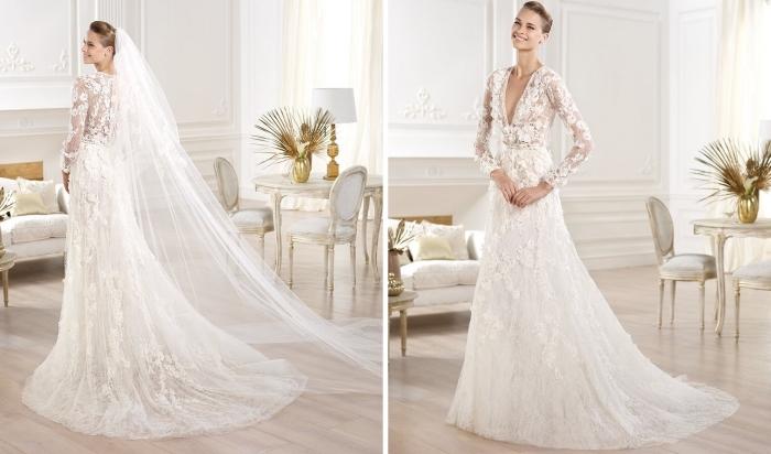 robe mariée dentelle, modèle de robe longue avec décolleté en V et traîne, exemple coiffure de mariée avec voile