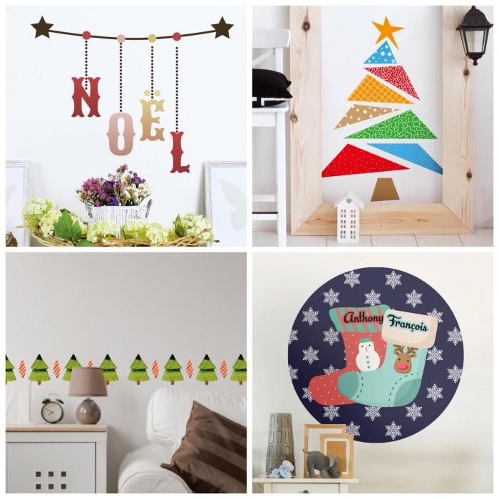 décoration de noël à coller sur les murs, des stickers décoratifs à motifs de fête joyeux qui remplacent le sapin, les guirlande et les chaussettes traditionnels
