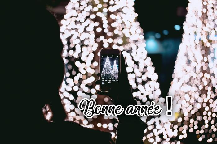 photographie de Noel avec sapins décorés en guirlandes lumineuses, images bonne année 2019, fille prenant des photos de Noel