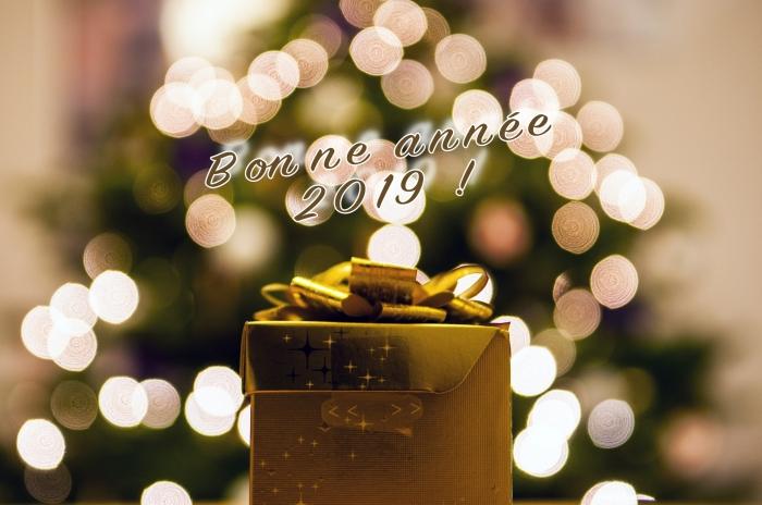 jolie photo avc sapin de noel et cadeau emballé en or, fond d'écran bonne année 2019, idée carte numérique nouvel an