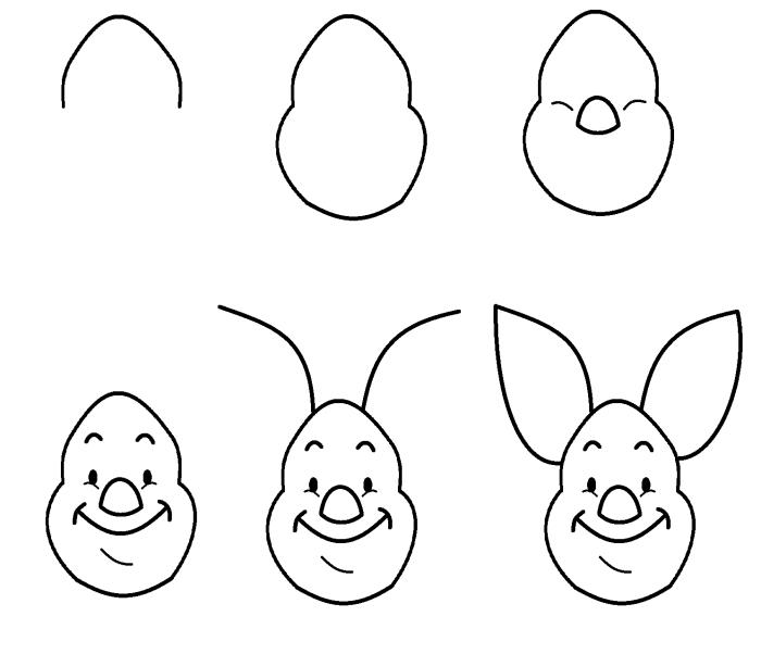 comment dessiner Porcinet au crayon, pas à pas dessin facile de personnage fiction pour débutants