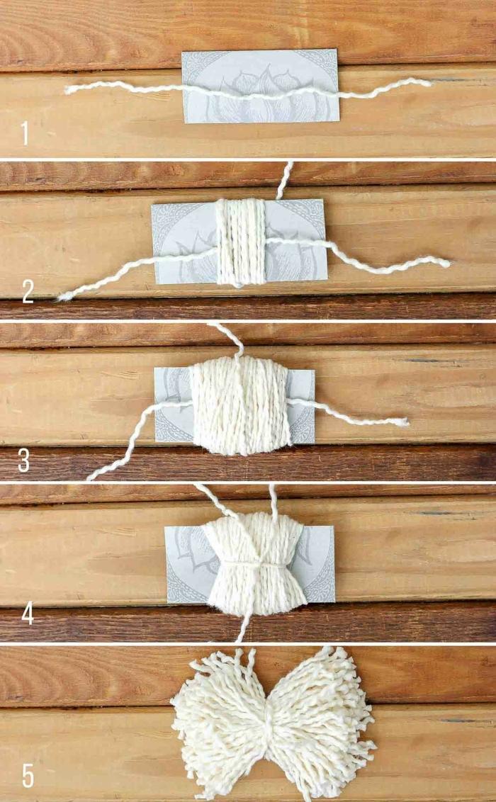 faire un pompon en laine à l'aide d'un morceau de carton, enrouler le fil de laine autour du carton