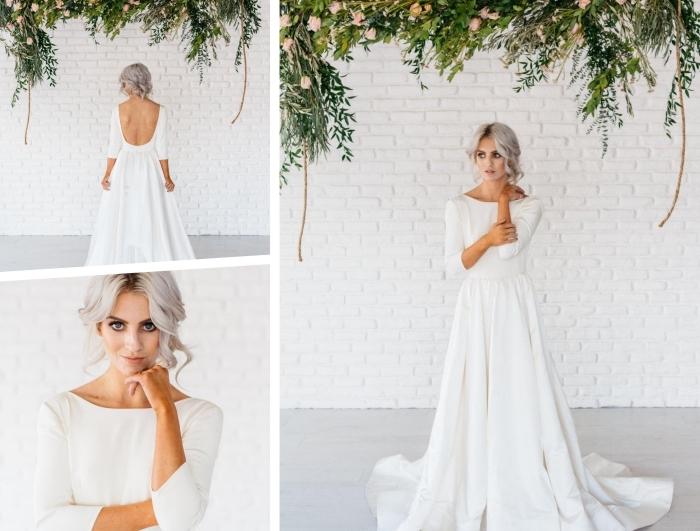 magnifique robe de mariée avec manche longue à design élégant, robe blanche avec jupe plissée et dos ouvert rond