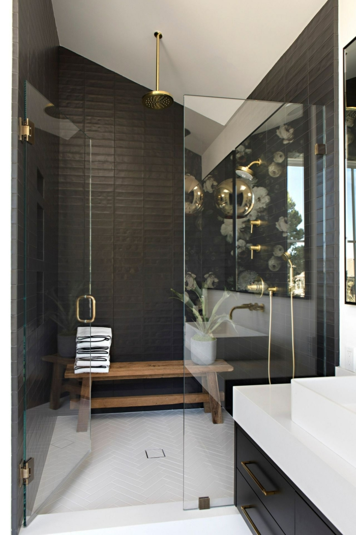 Magnifique idée décoration salle de bain, style industriel idée simple et beau des bains stylées gris et blanche