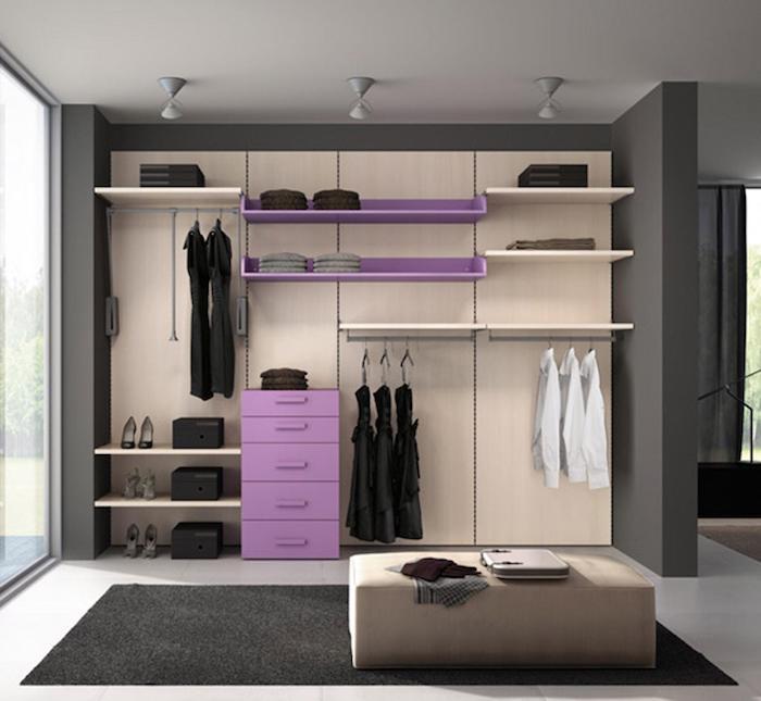 Dressing modulable dressing angle cool idée design photo originale, violet, beige et gris sombre palette de décoration chambre belle
